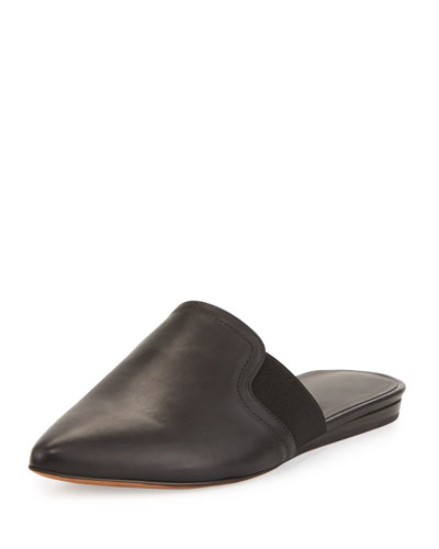 Nadette Pointed-Toe Slide, Black