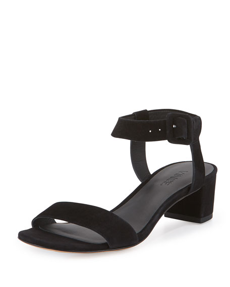 Rena Suede City Sandal, Black