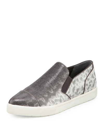 Payer Embossed Pointed-Toe Slip-On Sneaker, Silver/Gray