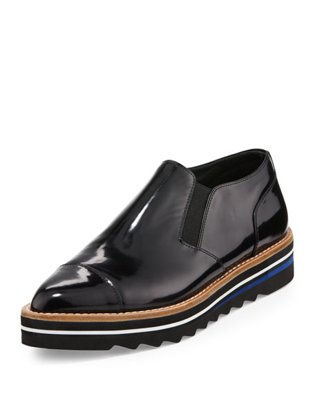 Alona Patent Cap-Toe Creeper, Black
