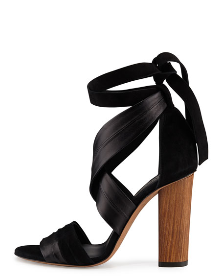 Beatrice Leather & Suede Wrap Sandal, Black