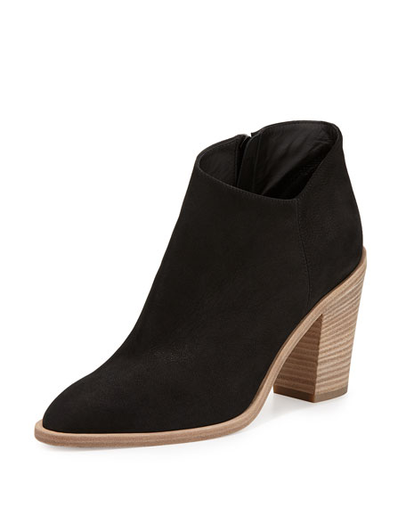 Vince Easton Asymmetric Nubuck 85mm Bootie, Black