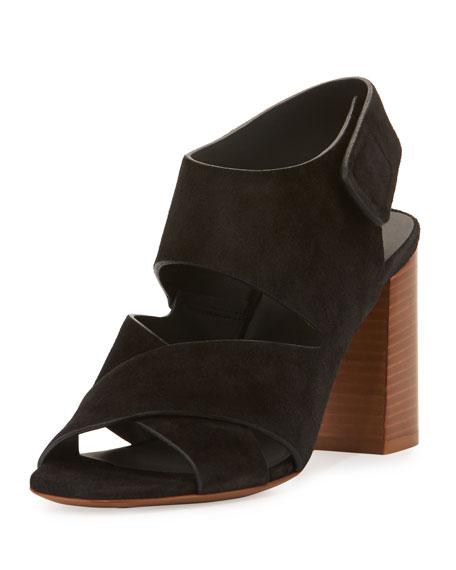 Farrah Suede Crisscross Sandal, Black