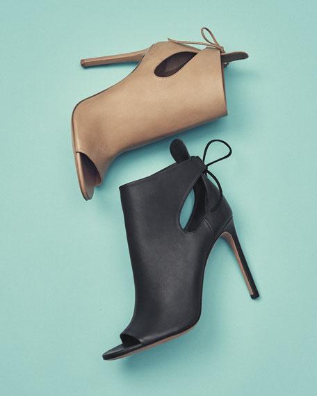 Gabrielle Leather Cutout Bootie, Sand