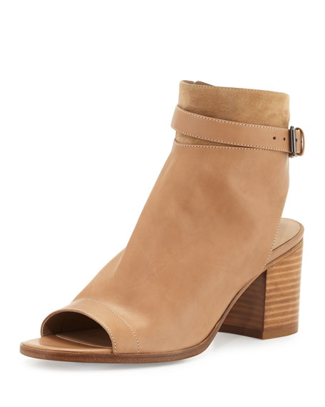 Vince Jane Leather Peep-Toe Bootie, Sand