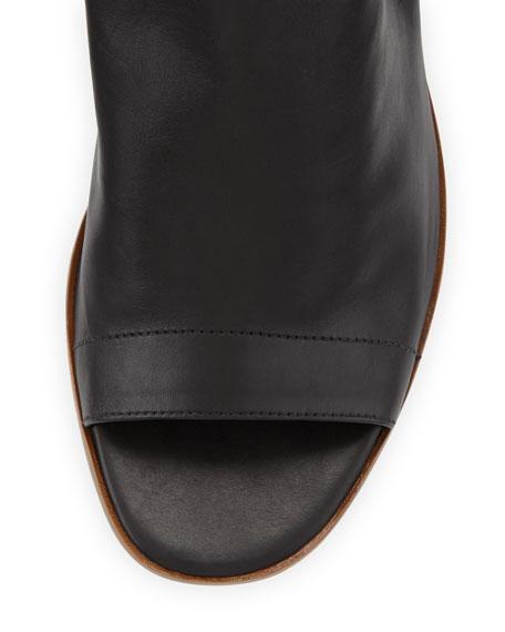 Jane Leather Peep-Toe Bootie, Black