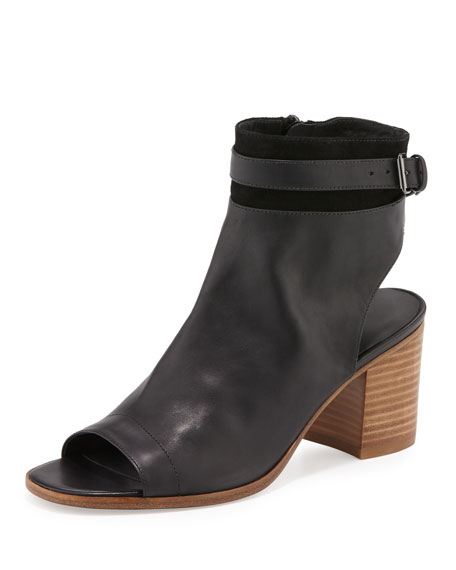 Vince Jane Leather Peep-Toe Bootie, Black