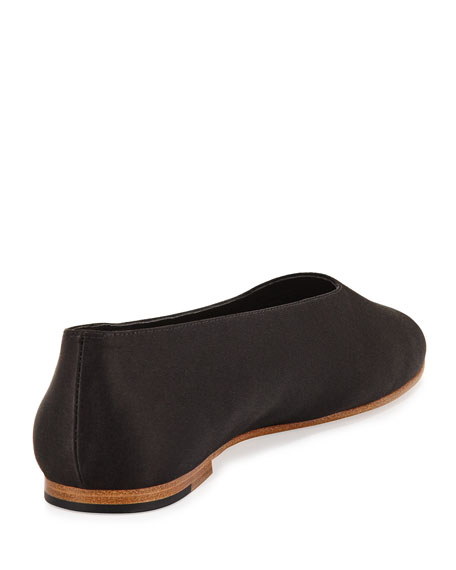 Maxwell Leather Flat, Black