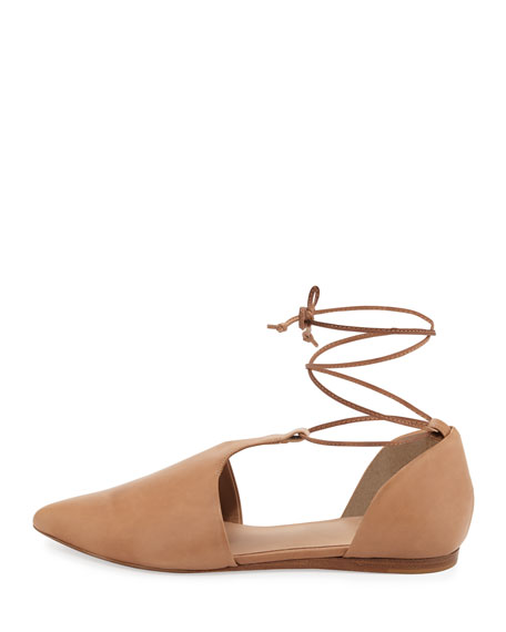 Noella Leather Lace-Up Flat, Sand