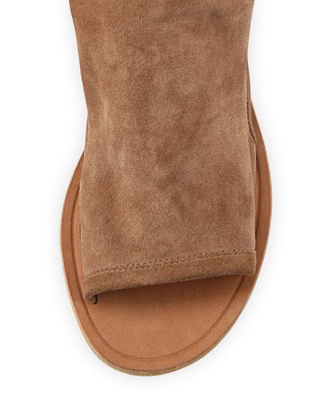 Thalia Slouchy Suede Cutout Flat Sandal, Sand