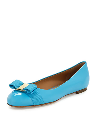 Varina Bow Patent Leather Ballet Flat, Cielo