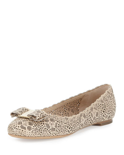 Varina Laser-Cut Leather Flat, Macadamia