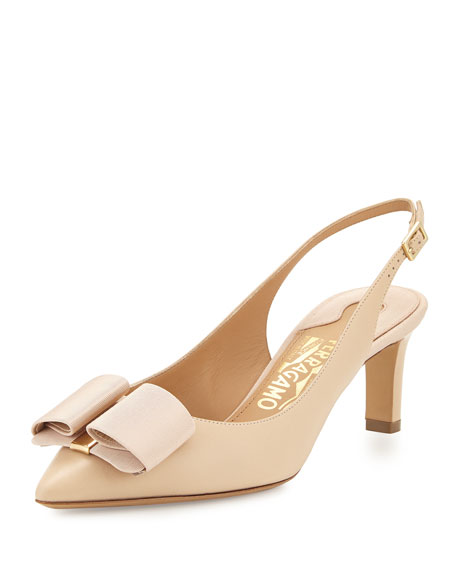 Salvatore Ferragamo Mimi Bow Slingback Pump, New Bisque