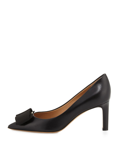 Bow Leather Pump, Nero