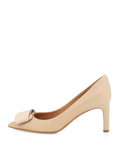 Bow Leather Pump, New Bisque