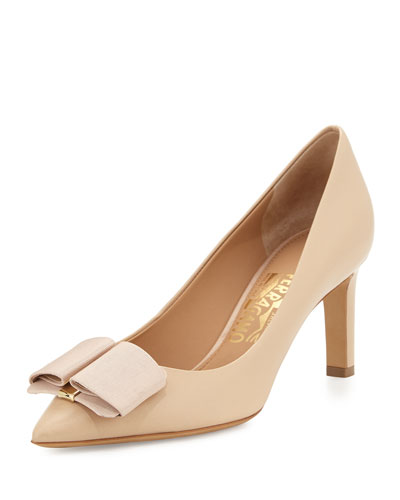 Mimi Bow Leather Pump, New Bisque