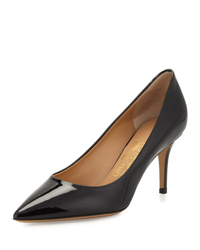 Susi Pointed-Toe Patent-Leather Pump, Nero