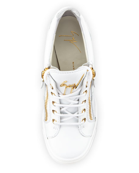 Lorenz Zip-Front Wedge Sneaker, White