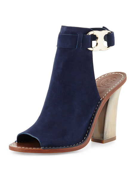 Tory Burch Gemini Link Open-Toe 100mm Bootie, Royal