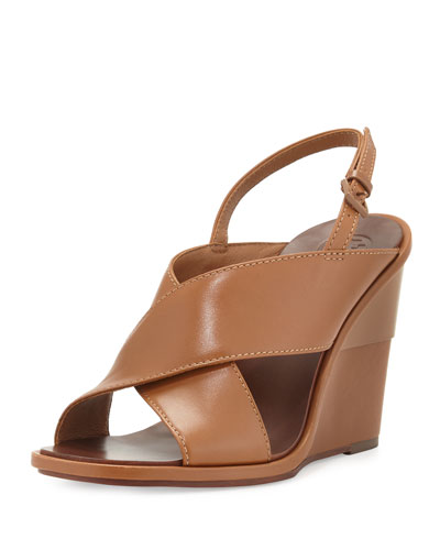 Gabrielle Leather Wedge Sandal, Royal Tan