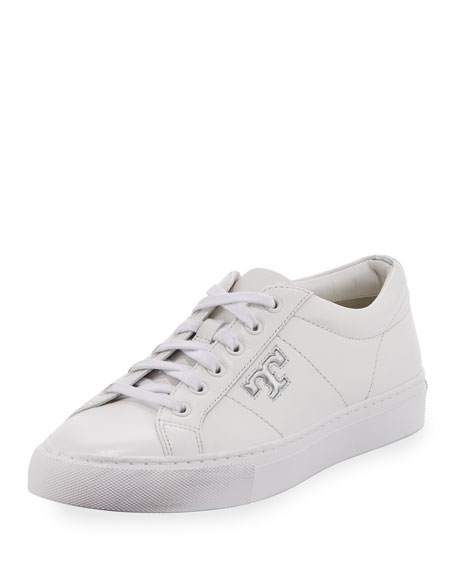 Chace Leather Low-Top Sneaker, White/Silver