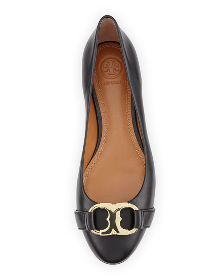 Tory Burch Gemini Link Leather Ballerina Flat, Black