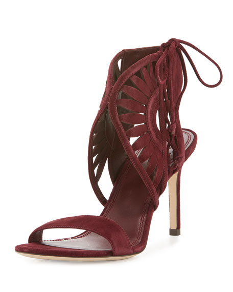 Leyla Laser-Cut Suede 85mm Sandal, Port