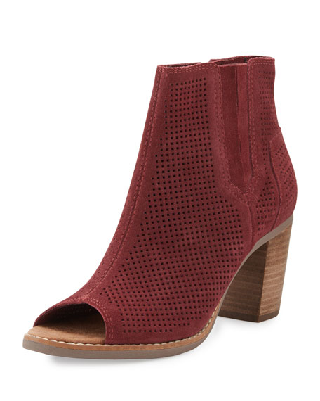 TOMS Majorca Perforated Open-Toe Suede Bootie, Dark Red