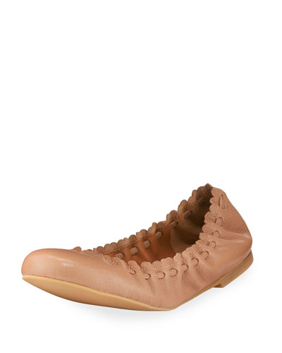 Jane Scalloped Ballerina Flat, Biscotto Nude