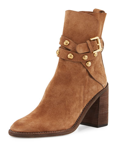 Janis Studded Suede Bootie, Stucco Tan