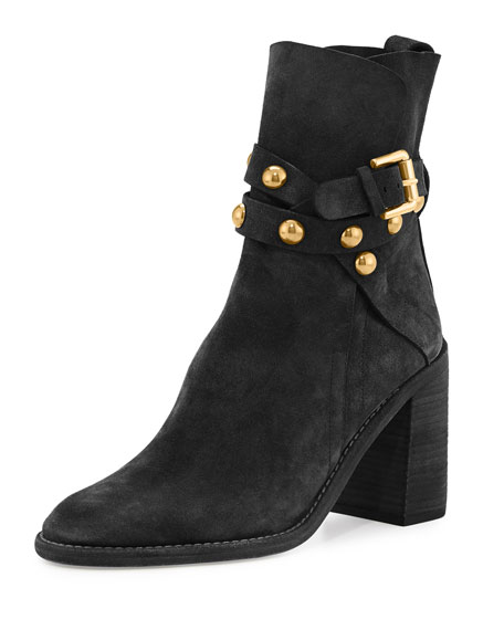 Janis Studded Suede Bootie, Black