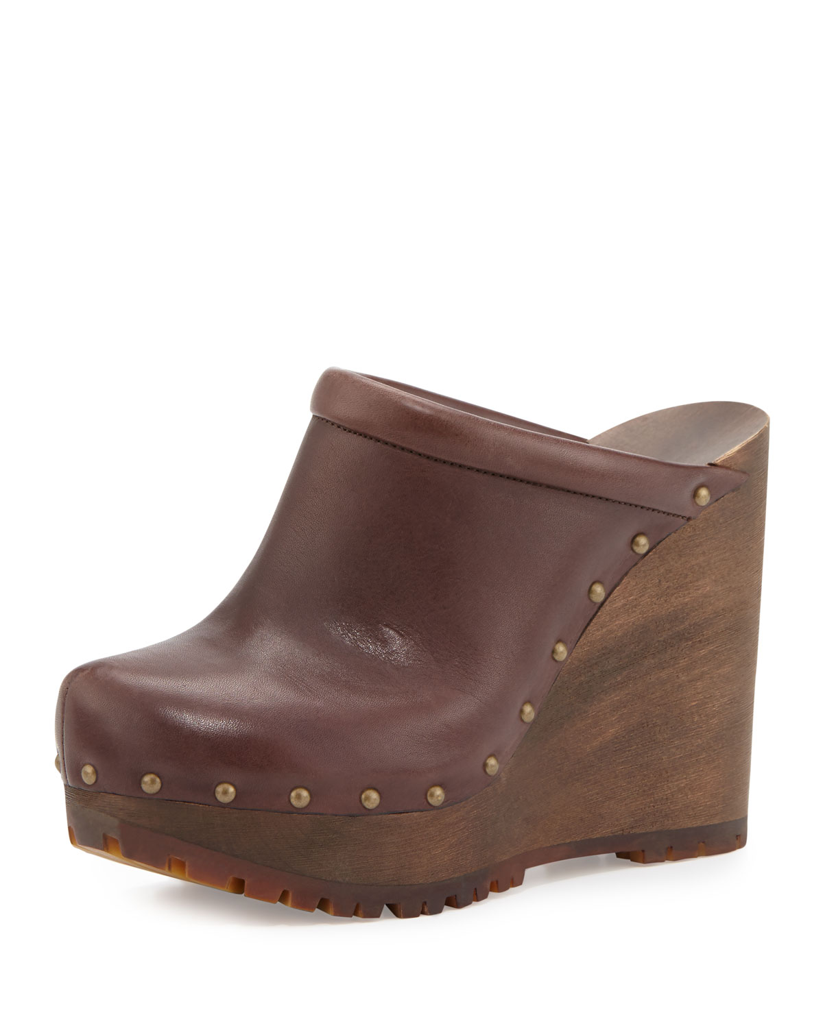 476b8169db8 See by Chloe Clive Studded Leather Clog, Brown Mousse | Neiman Marcus