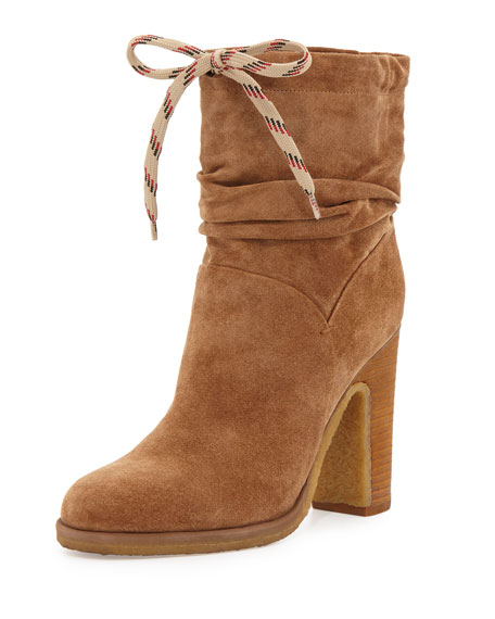 Jona Slouchy Suede Bootie, Stucco Tan