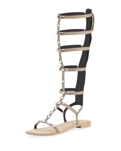 Giselle Studded Flat Gladiator Sandal, Sand