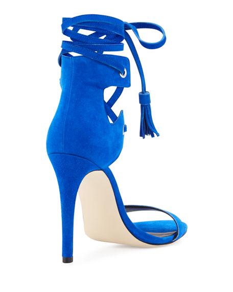 Riley Suede Lace-Up Sandal, Deep Sapphire