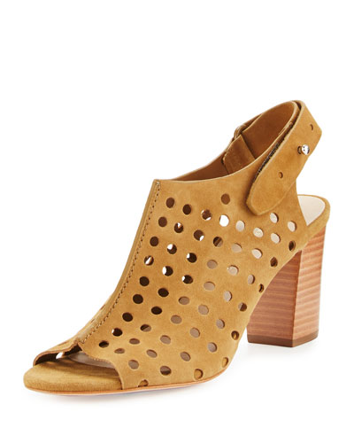 Alix Perforated Suede Sandal, Sienna