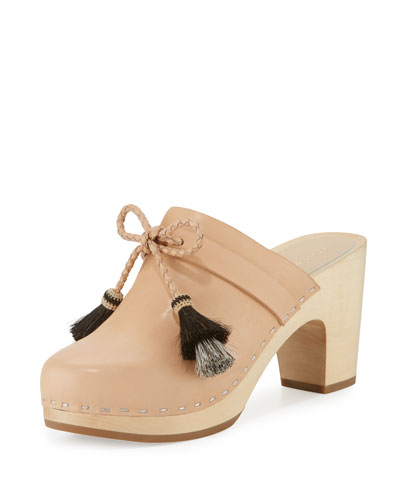 Hadley Leather Tassel Clog, Natural/Black