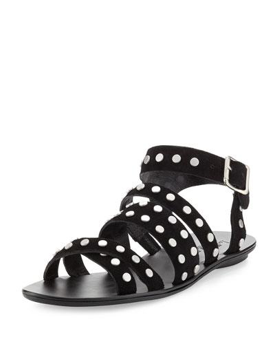 Karin Studded Suede Flat Sandal, Black