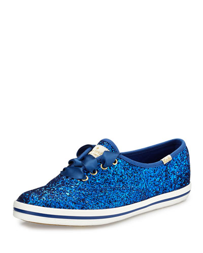 glitter lace-up sneaker, blue