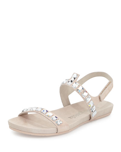 Joss Crystal Suede Flat Sandal, Bare