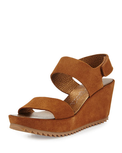Fiona Suede Low-Wedge Sandal, Tobacco