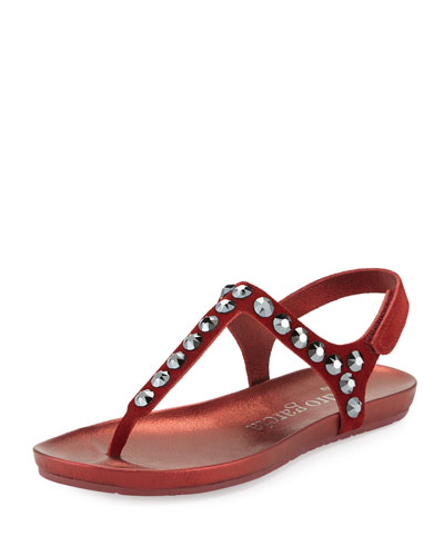Judith Crystal-Stud Flat Thong Sandal, Pompeii