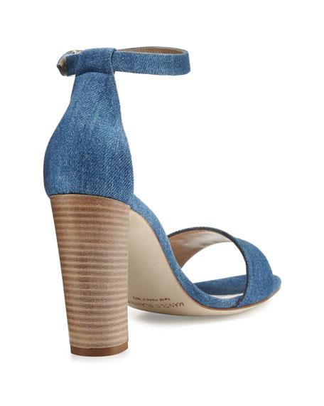 Lauratopri Ankle-Wrap 105mm Sandal, Light Blue Jeans