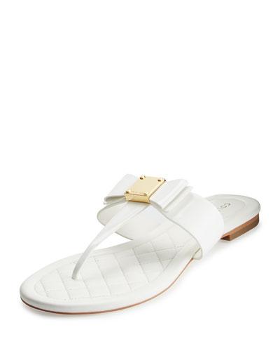 Tali Bow T-Strap Sandal, Optic White
