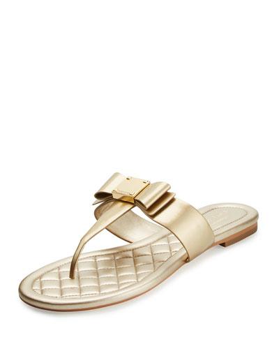 Tali Bow T-Strap Sandal, Soft Gold