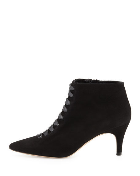 Lasha Suede Pointed-Toe Bootie, Black