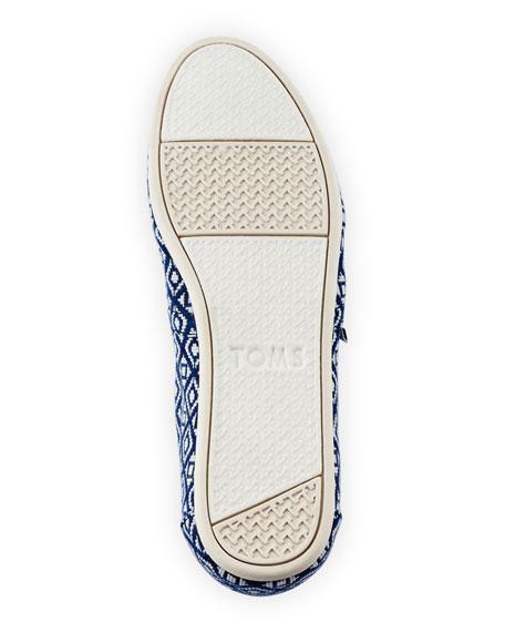 Alpargata Diamond-Print Slip-On Flat, Dark Blue