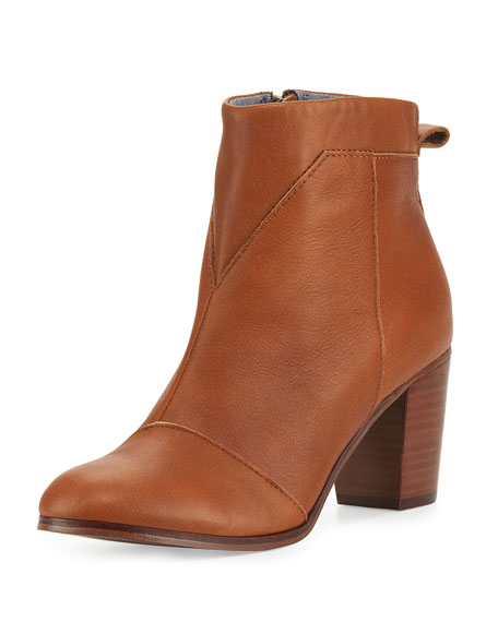 TOMS Lunata Leather Ankle Boot, Medium Brown