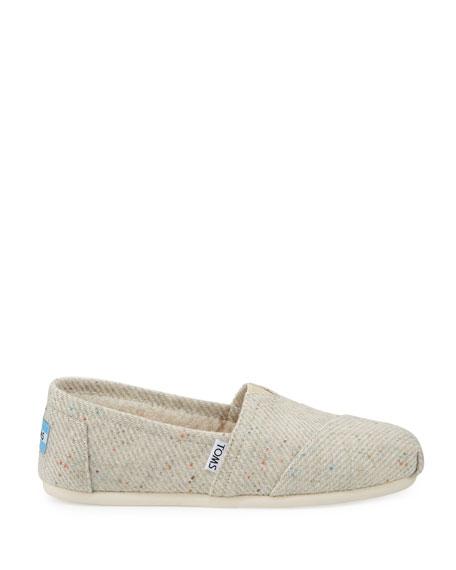 Alpargata Speckled Slip-On Flat, Black/White