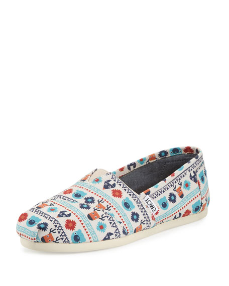 Alpargata Critter-Print Slip-On Flat, Birch/Multi